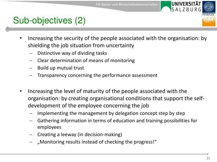 Sub-objectives (2)