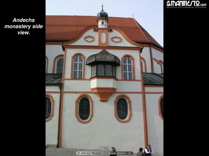 Andechs monastery side view.