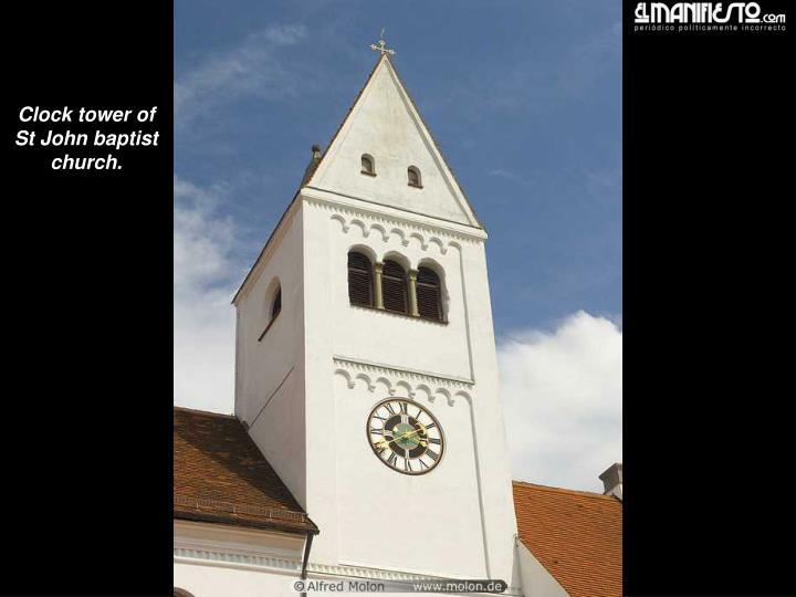 Clock tower of St John baptist church.