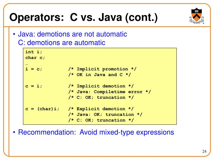 Operators:  C vs. Java (cont.)