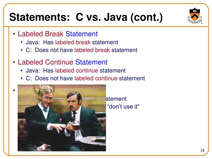 Statements:  C vs. Java (cont.)