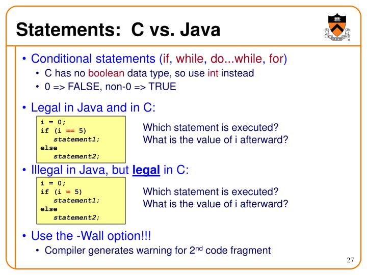 Statements:  C vs. Java
