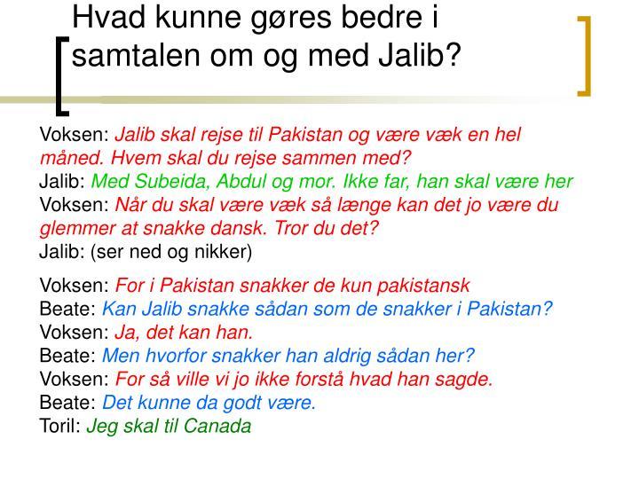 Hvad kunne gøres bedre i samtalen om og med Jalib?