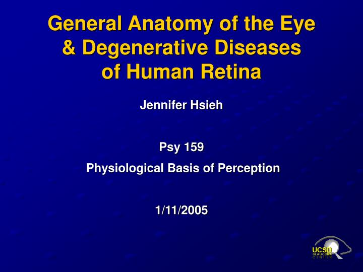 General anatomy of the eye degenerative diseases of human retina