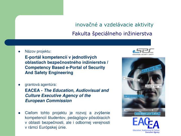 inovačné a vzdelávacie aktivity