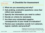 a checklist for assessment