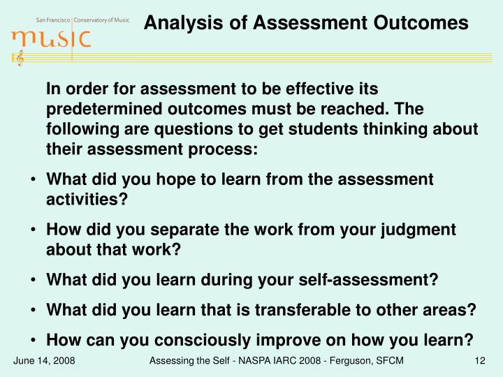 Analysis of Assessment Outcomes