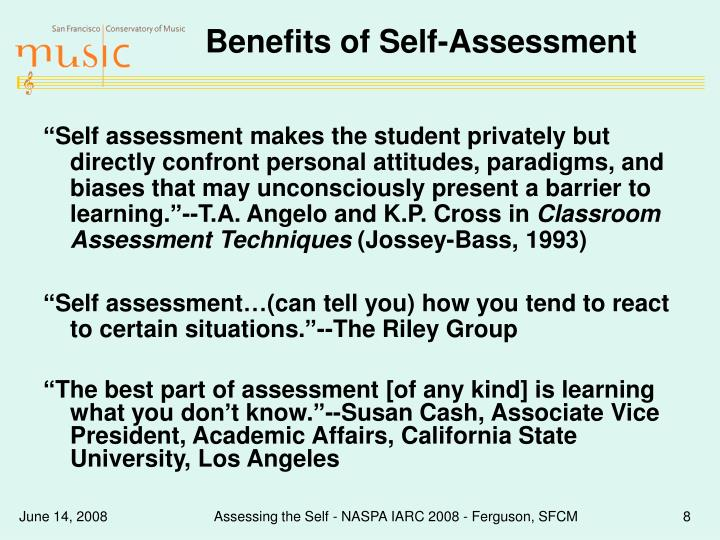 Benefits of Self-Assessment