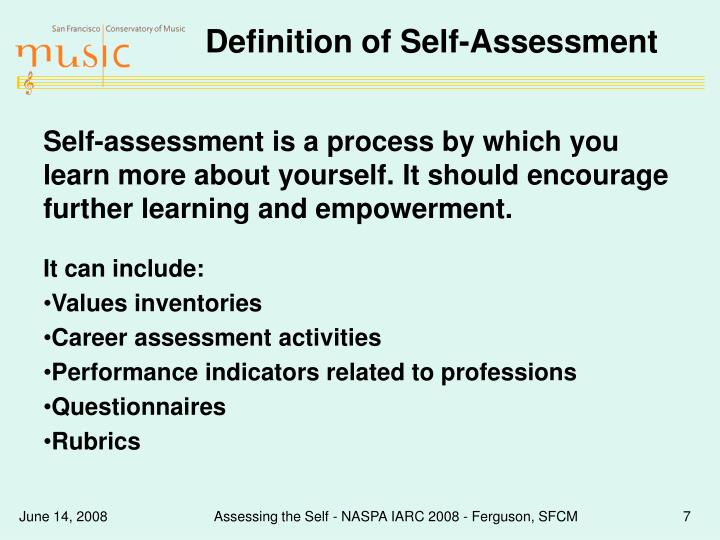 Definition of Self-Assessment