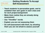 getting students to accept self assessment