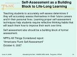 self assessment as a building block to life long learning