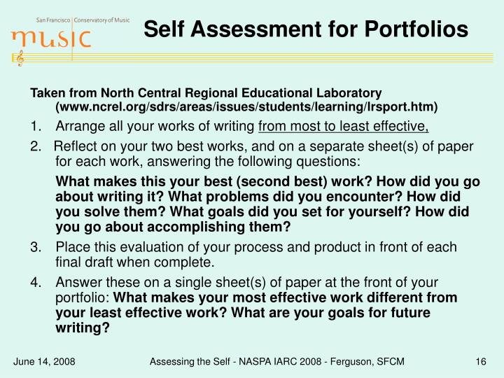 Self Assessment for Portfolios