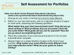 self assessment for portfolios