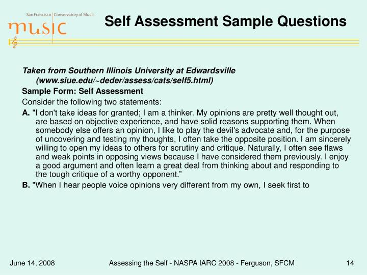 Self Assessment Sample Questions