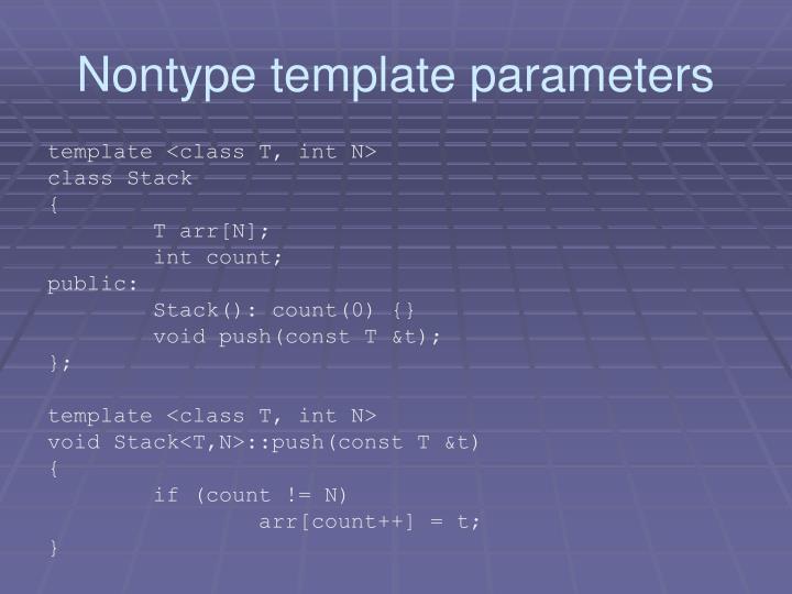 Nontype template parameters