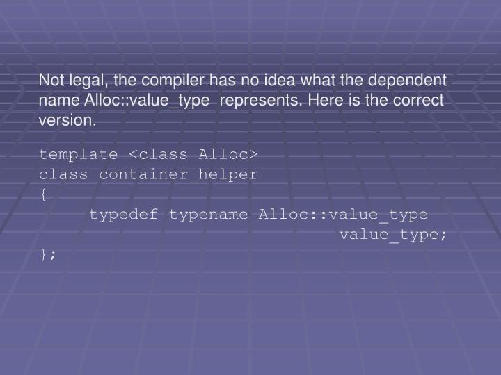 Not legal, the compiler has no idea what the dependent name Alloc::value_type  represents. Here is the correct version.