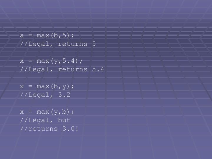a = max(b,5);