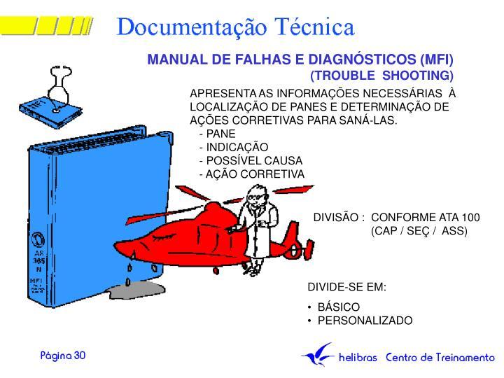 MANUAL DE FALHAS E DIAGNÓSTICOS (MFI)