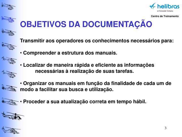 OBJETIVOS DA DOCUMENTAÇÃO