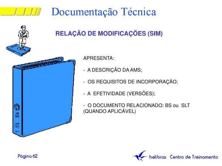 RELAÇÃO DE MODIFICAÇÕES (SIM)