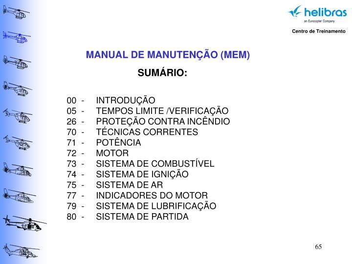 MANUAL DE MANUTENÇÃO (MEM)