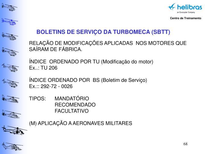 BOLETINS DE SERVIÇO DA TURBOMECA (SBTT)