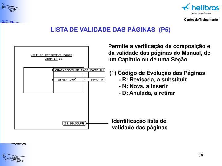 LISTA DE VALIDADE DAS PÁGINAS  (P5)