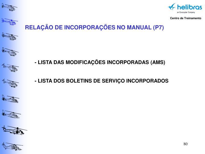 RELAÇÃO DE INCORPORAÇÕES NO MANUAL (P7)