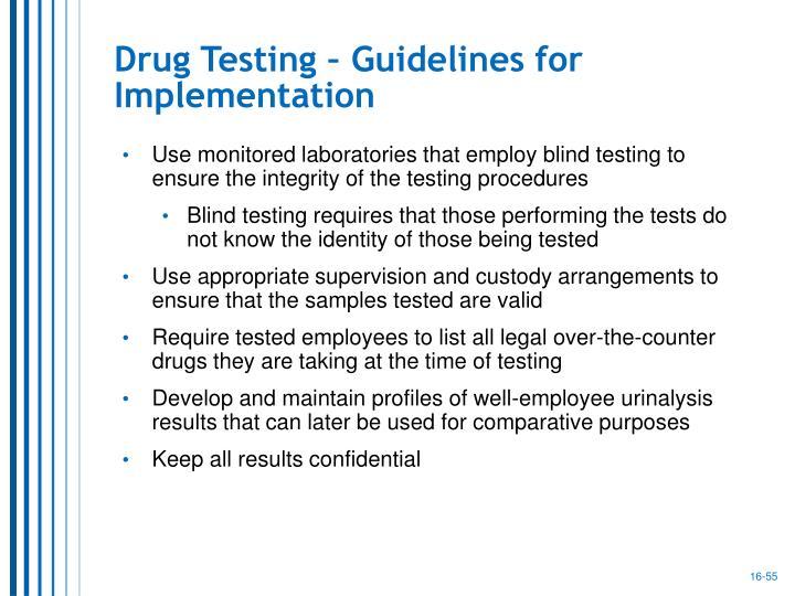 Drug Testing – Guidelines for Implementation