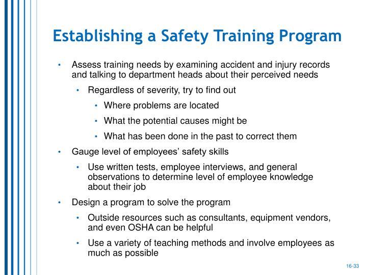 Establishing a Safety Training Program