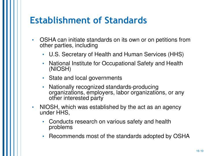 Establishment of Standards