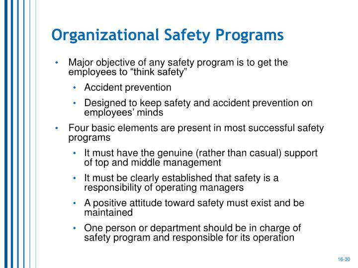 Organizational Safety Programs