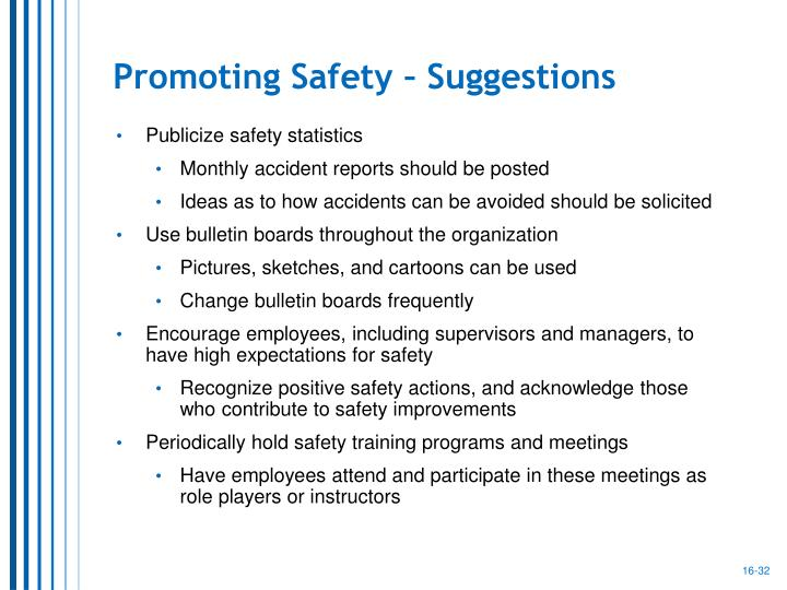 Promoting Safety – Suggestions