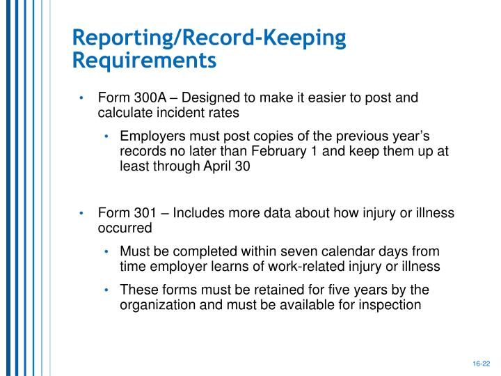 Reporting/Record-Keeping Requirements