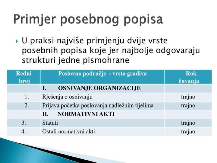 Primjer posebnog popisa