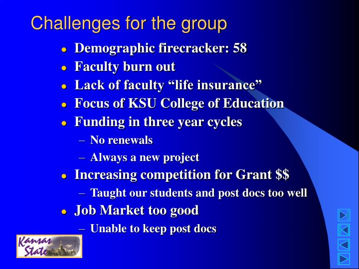 Challenges for the group