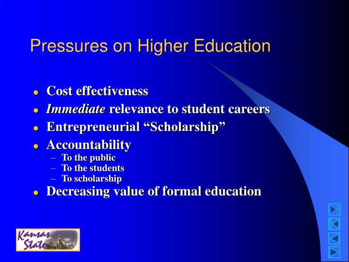 Pressures on Higher Education