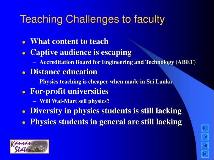 Teaching Challenges to faculty