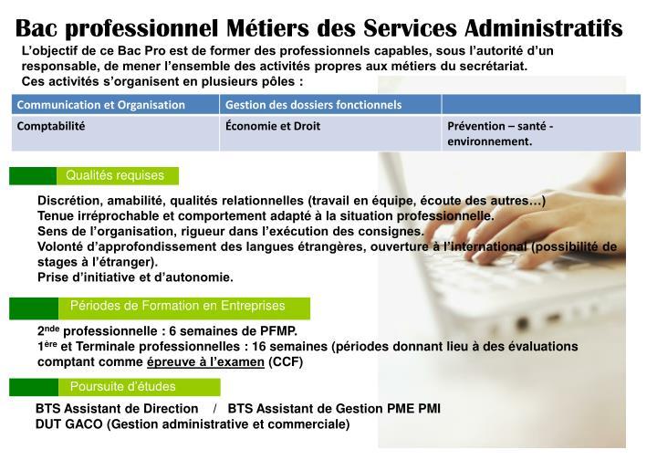 Bac professionnel Métiers des Services Administratifs
