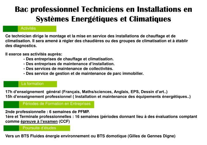 Bac professionnel Techniciens en Installations en Systèmes Energétiques et Climatiques