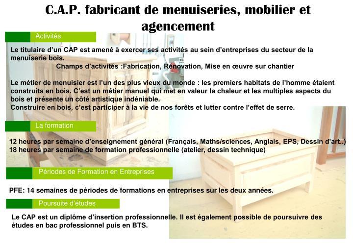 C.A.P. fabricant de menuiseries, mobilier et agencement