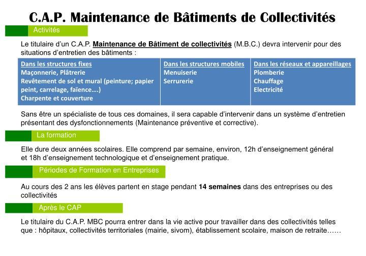 C.A.P. Maintenance de Bâtiments de Collectivités