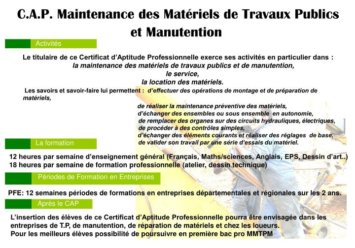 C.A.P. Maintenance des Matériels de Travaux Publics