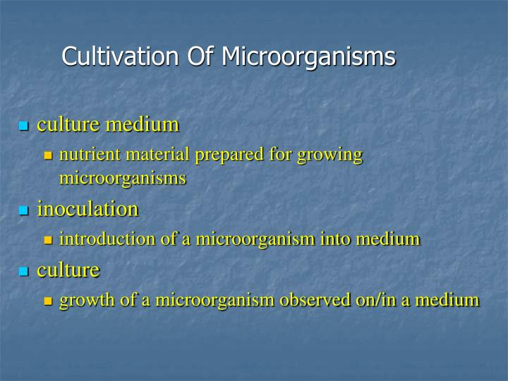 Cultivation Of Microorganisms