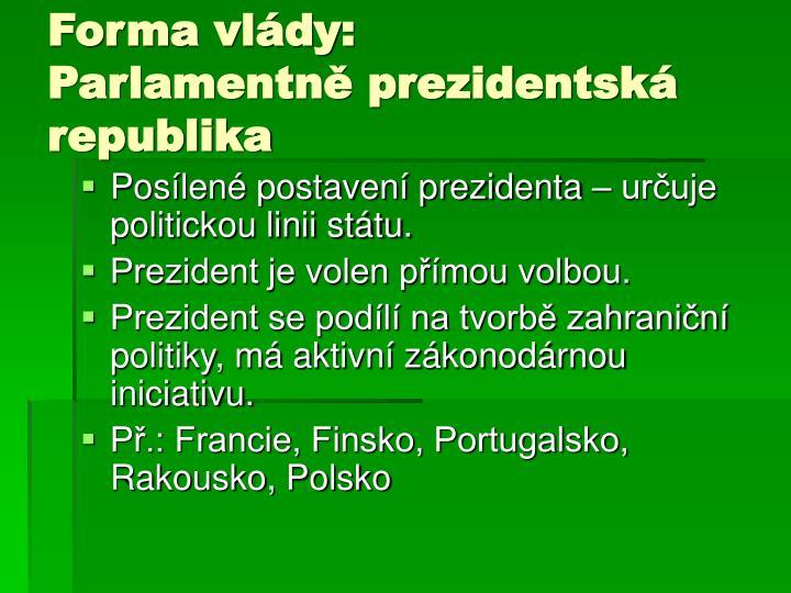 Forma vlády: