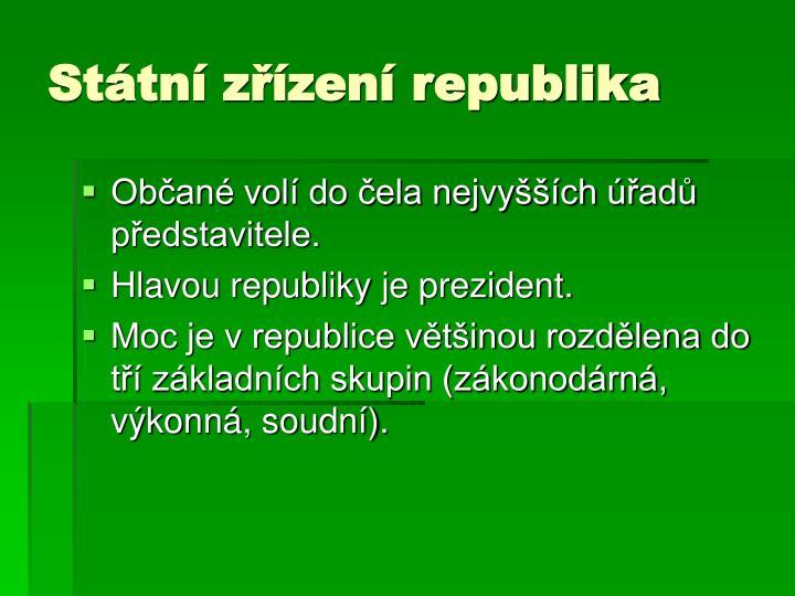 Státní zřízení republika
