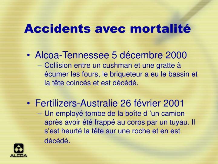 Accidents avec mortalité