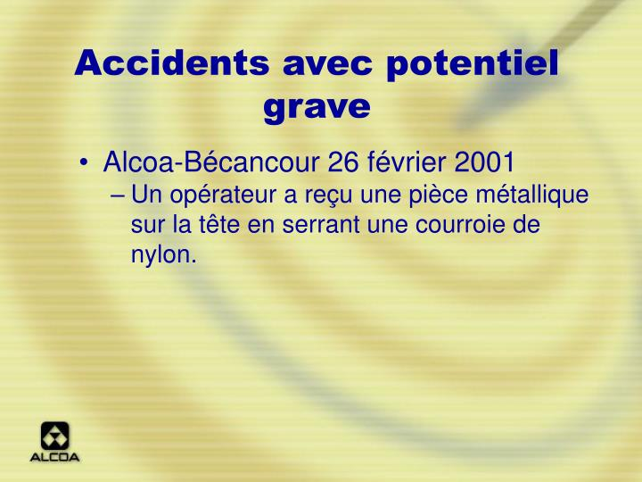 Accidents avec potentiel grave