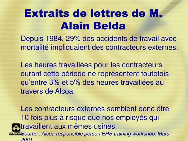 Extraits de lettres de M. Alain Belda