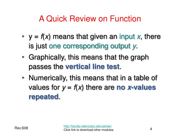 A Quick Review on Function